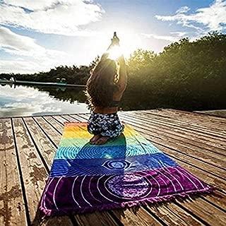 Katoot@ Rainbow Tapestry Stripes 7 Chakra Beach Towel Yoga Mat Sunscreen Shawl Hippy Boho Gypsy Bohemia India Mandala Blanket 15070cm