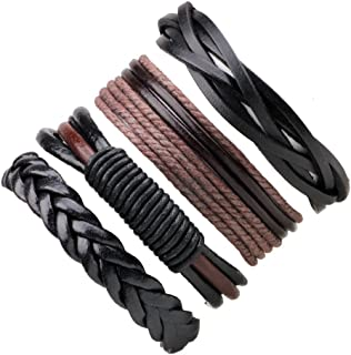 4 PCS Pulsera de cuero Pulsera de cuerda multicapa trenzada de la vendimia para hombres Mujeres Pulsera de la amistad Set,...
