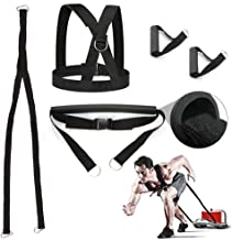 Sunsign 5-Pcs Weight Sled Harness Kits Sled Pulling Strap for Running Sprinting Football Ice Fishing Power Pulling Resistance Speed Agility Training