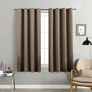 Blackout Curtains for Living Room 63 inch Length Bedroom Window Curtains Triple Weave Room Darkening Curtain Panels Thermal Insulated Grommet Top Drapes, Brown, 1 Pair
