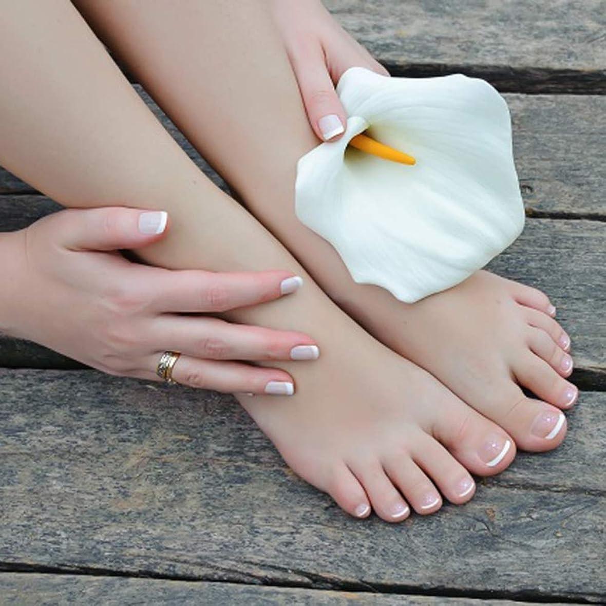 ハック染色箱XUTXZKA つま先の指のための楕円形の24個の偽の爪のつま先ネイルのヒントホワイトカラーの偽のネイルキット