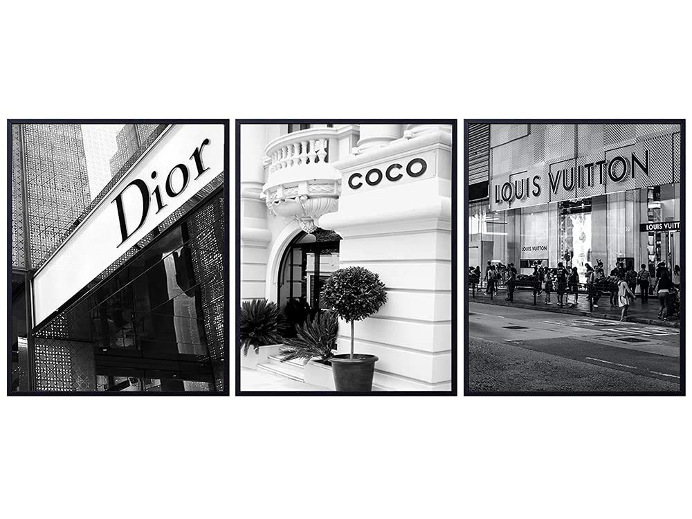 Pictures of Louis Vuitton, LV, Dior, Coco Glamour Wall Art - High Fashion Design Wall Decor Poster Set - Glam Living Room Decor, Home Decorations - Designer Wall Decor - Luxury Gifts for Women