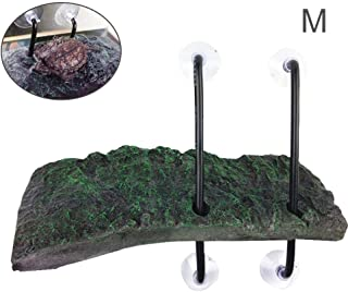 Hamkaw Turtle Basking Platform Automatic Floating Turtle Pier Rectangular Terrapin Dock Island Frogs Reptile Ramp with Suction Cup for Turtles Terrapins Brazilian Tortoises Semi Aquatic Animals