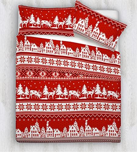 HomeLife Edredón de invierno para cama de matrimonio, diseño de pueblo navideño, 250 x 250 cm, para otoño/invierno, 260 g/m², hipoalergénico, edredón de matrimonio de microfibra, color rojo