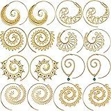 8 Pairs Bohemian Vintage Hoop Earrings Circles Tribal Earrings Spiral Earrings for Women, Gold