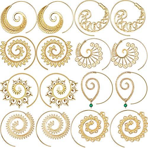 8 Paare Bohemian Vintage Creolen Kreise Stamme Ohrringe Spirale Ohrringe für Frauen, Gold