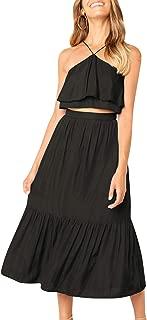 Women's Casual 2 Pieces Halter Ruffle Dress Crop Top Maxi Skirt Set