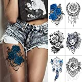 6 Piezas Impermeable Tatuaje Temporal Pegatina Azul Rosa Encaje Mandala Henna Flash Tatuajes Tigre Mariposa Arte Brazo Falso Tatuaje Mujeres Hombres