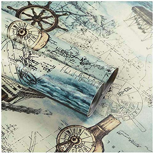 Nautical Map Wallpaper, H2MTOOL Peel and Stick Removable