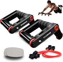 KIARUO Foldable Double AB Wheel & Push up Bars 2 in 1 Fitness Equipment with Knee Pad & Resistance Rope Portable Exercise Fitness Trainer Workout Abs Core Power for Home Gym & Traveling