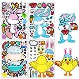 HOWAF 24 Feuille Pâques Bricolage Autocollants Stickers pour Enfants Filles Activités Jeux Artisanat Projet Anniversaire Pâques Bonbonnières Décoration, Pâques Oeuf Lapin Poussin Agneau