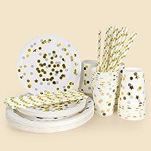 32 وجبة للاستعمال مرة واحدة كأس ورقي صينية قش ورقية مجموعة أدوات مائدة ستار دوتس برونزية حفل زفاف مناسبة