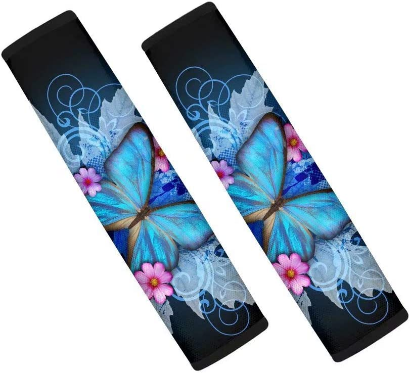 Advocator Blue Butterfly Flower Printed Car Seat Belt Covers for Kids and Women Soft Comfort Seat Belt Cover Protector Neck and Shoulder,2 Packs