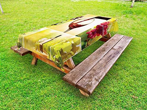 ABAKUHAUS Wijn Tafelkleed voor Buitengebruik, Vineyard Grape Harvest, Decoratief Wasbaar Tafelkleed voor Picknicktafel, 58 x 120 cm, Groen rood