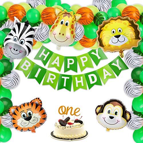 KATELUO Selva Fiesta de Cumpleaños Decoracion, Pancarta de Feliz Cumpleaños, Hojas de Palma, Globos de Latex, Globos de Animales, Decoraciones de Fiesta de Cumpleaños para Niños y Niñas