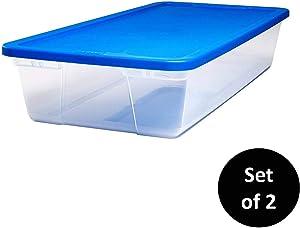 HOMZ Snaplock Clear Storage Bin with Lid, Large-41 Quart, Blue, 2 Pack