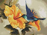 Cross Stitch Kits - Counted Cross Stitch Kit, Cross-Stitching Patterns Hummingbird Flowers with 11CT White Fabric - DIY Art Crafts & Sewing Needlepoints Kit for Home Decor 14.2×18.1Inch