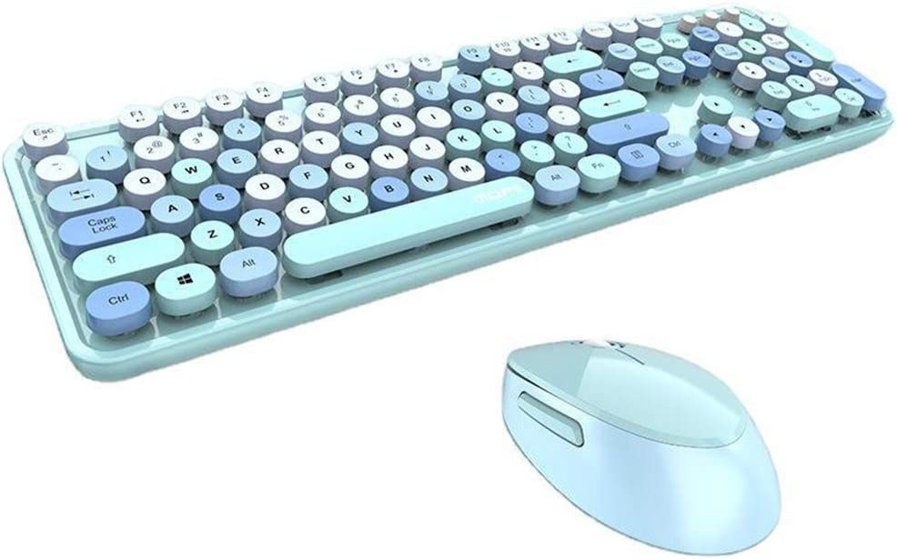 Wireless Keyboard and Mouse Combo High-Key Keyboard for PC/Laptop/Computer (Blue Mix)