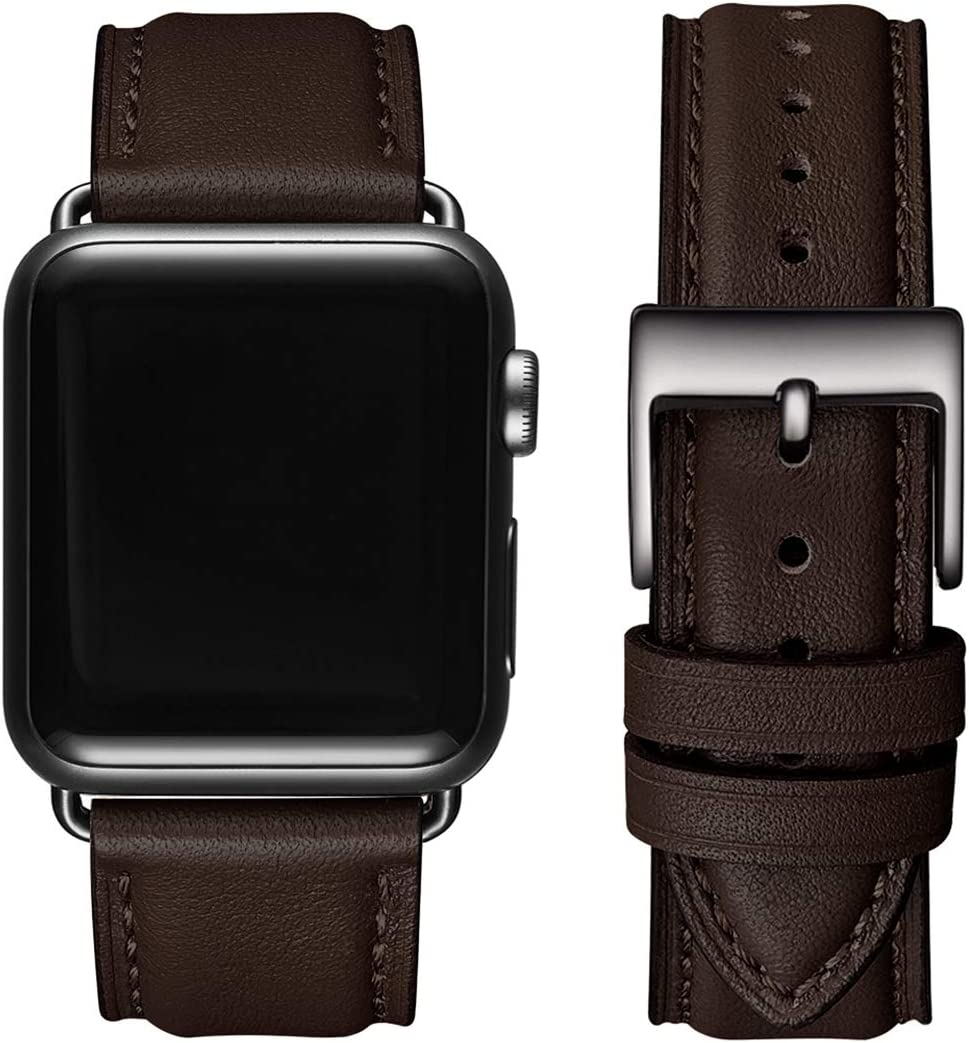 OMIU Square Bands Compatible for Apple Watch 38mm 40mm 42mm 44mm, Genuine Leather Replacement Band Compatible with Apple Watch Series 6/5/4/3/2/1, iWatch SE (Coffee/Black Connector, 42mm 44mm)