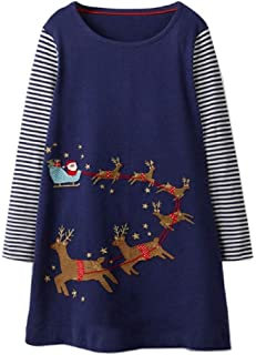 KIDSALON Little Girls Casual Cartoon Animals Print Long Sleeve Cotton Dresses