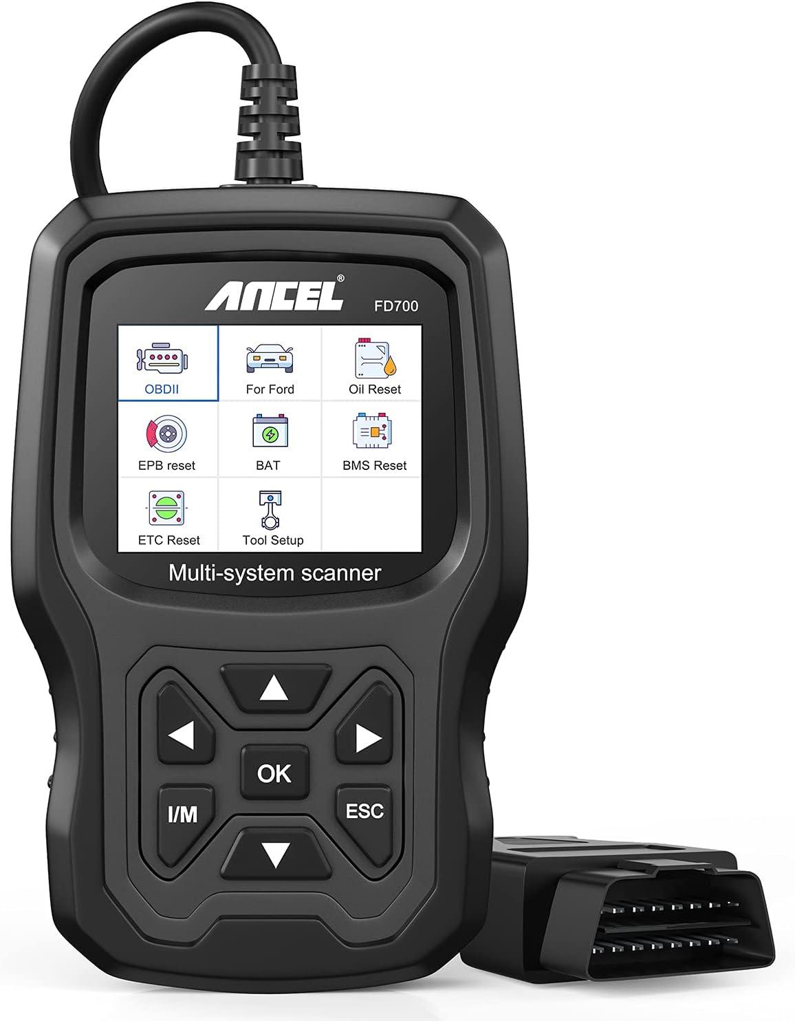 ANCEL FD700 OBD2 Escáner de Todos los Sistemas para vehículos Ford Lector de Códigos de Coches Herramienta de Escaneo de Diagnóstico con Calibración Aceite SRS SAS TPMS IQA EPB BMS DPF EGR Reinicio