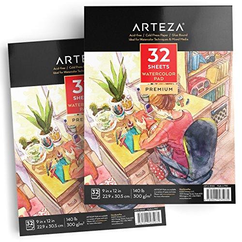 Arteza Cuadernos para acuarelas | Pack de 2 blocs de acuarela | Papel blanco de 300 gramos prensado en frío | Perfecto para pinturas de agua, medios secos y mixtos | 64 hojas en total