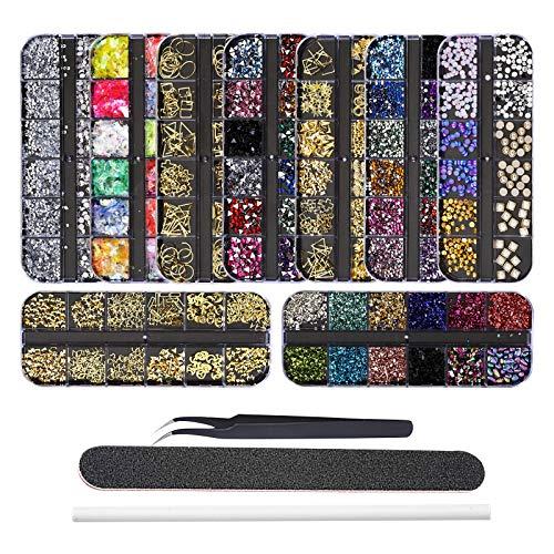 EBANKU 9 Boxen Nagel Art Strassstein Glitter Strass, Nagel Kristalle Rückseite Edelsteine Dekoration, mit Pinzette, Picking Pen und Nagelfeile