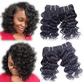 Brazilian Deep Wave 4 Bundles Human Hair Deep Curly Short Wavy Human Hair Extensions Deepwave 8A Grade Real Unprocessed Virgin Remy 4Bundles Natural Black Color 8 Inch 50g/pc