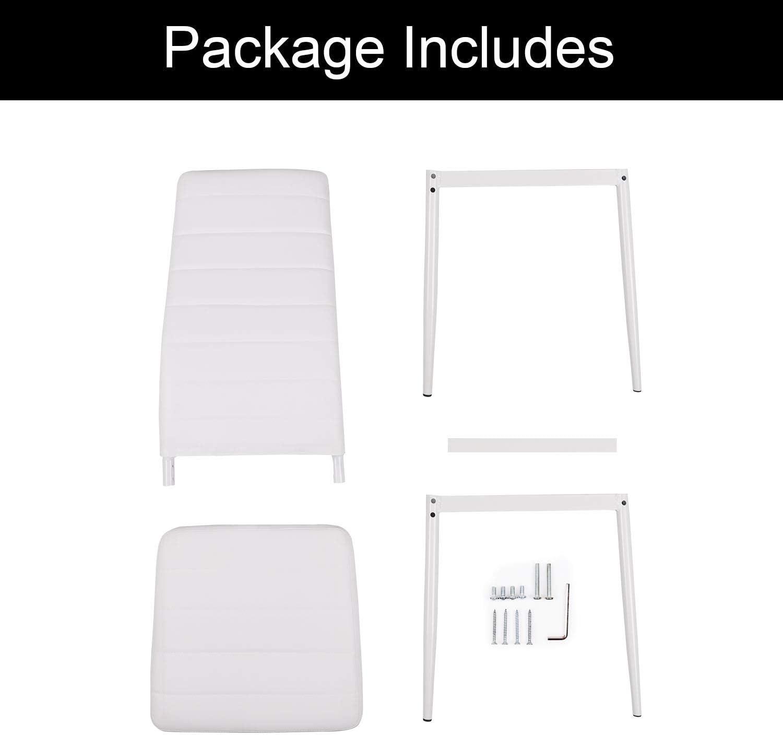 Beliwin Lot de 4 chaises de salle à manger à dossier haut en similicuir et pieds en métal et assise rembourrée pour salon/cuisine Gris Blanc - 4