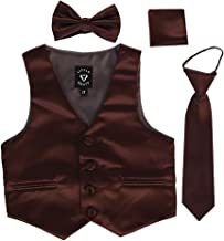 iGirlDress Boys 4 Piece Formal Satin Vest Set Zipper Tie Bowtie Hanky