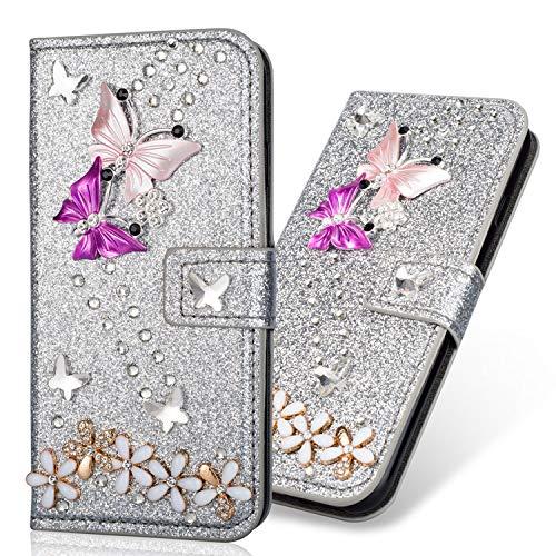 "6City8Ni Coque Étui Bookstyle Ultra Slim Flip Magnétique Housse Wallet Protection Feather Bling Glitter Brillante Diamant Protection Carte Crédit Portefeuille TPU Silicone Cover Samsung S8 Plus 6.2"""