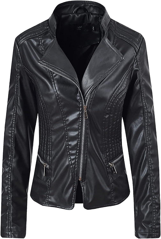 Womens Leather Jackets, Faux Motorcycle Slim Fit Moto Biker Coat Short Lightweight Vegan Pleather Biker Bomber Jacket