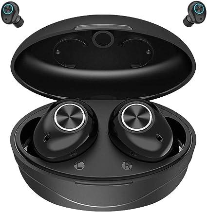 Audifonos Bluetooth, MCSWKEY Auriculares Inalámbricos Bluetooth 5.0 Impermeables IPX67 HiFi Estéreo Audifonos Deportivos In-Ear Inalámbricos con Mic y Caja de Carga Portátil Compatible con iPhone y Android