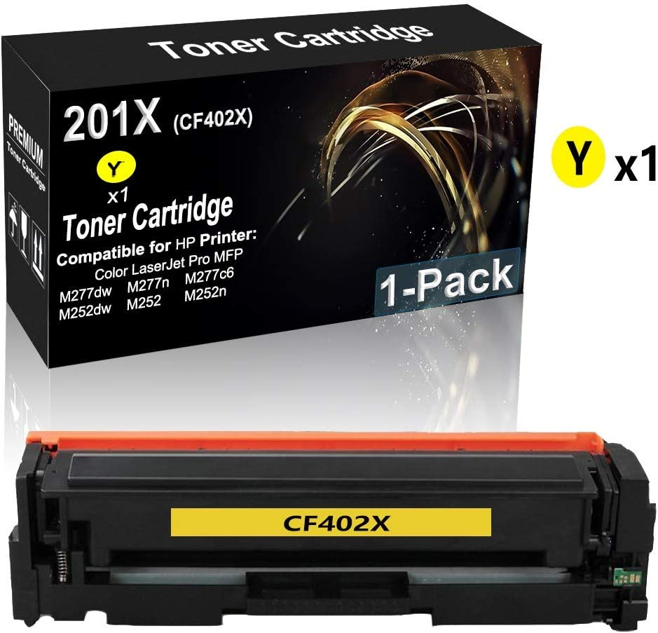 1-Pack (Yellow) Compatible High Yield 201X | CF402X Printer Toner Cartridge use for HP M252dw M252n MFP M277dw M277dw M277n M277c6 M274n Printer