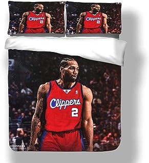 Juego de Funda nórdica Kawhi Los Angeles Basketball Player 2 Ropa de Cama Fun Guy Leonard Clippers Super Star Shot Clock Colcha Final con 2 Fundas de Almohada FMVP San Antonio Toronto Spurs Raptors