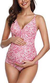 MiYang Women Maternity Swimsuit Flower Printed Criss Back One Piece Pregnant Beachwear