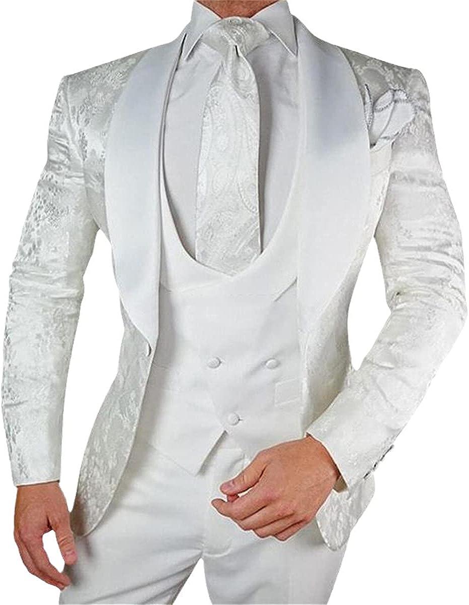 Groom's White Floral Wedding Tuxedo 3 Pieces of Slim-fit Men's Tailored Satin Shawl Lapel Custom Clothing