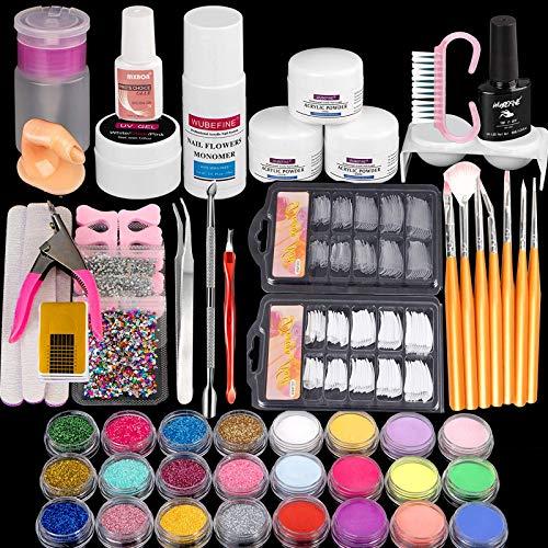 Acrylic Nail Kit - 24 Acrylic Nail Glitter Powder with Rhinestones For Nail Art Decoration - 7 Pcs Acrylic Nail Brush And Manicure Tools For Acrylic Nail Starter Acrylic Powder Liquid Brush