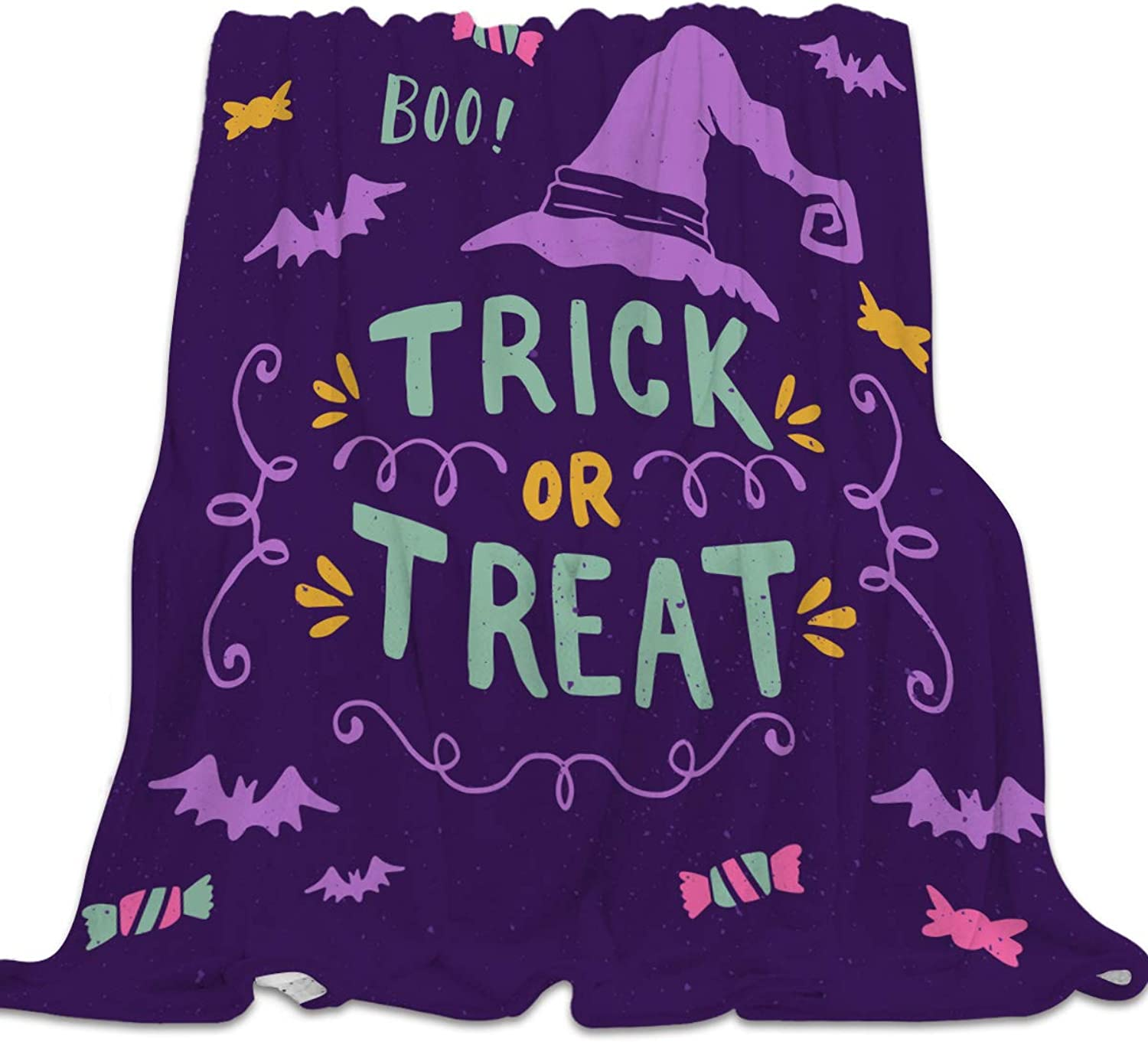 YEHO Art Gallery Flannel Fleece Bed Blanket Super Soft Cozy ThrowBlankets for Kids Girls Boys,Lightweight Blankets for Bed Sofa Couch Chair Day Nap,Trick or Threat Purple Halloween Design,49x59inch