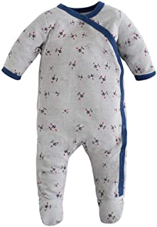 Organic Cotton Airplane Printed Baby Boy Side Snap Footie
