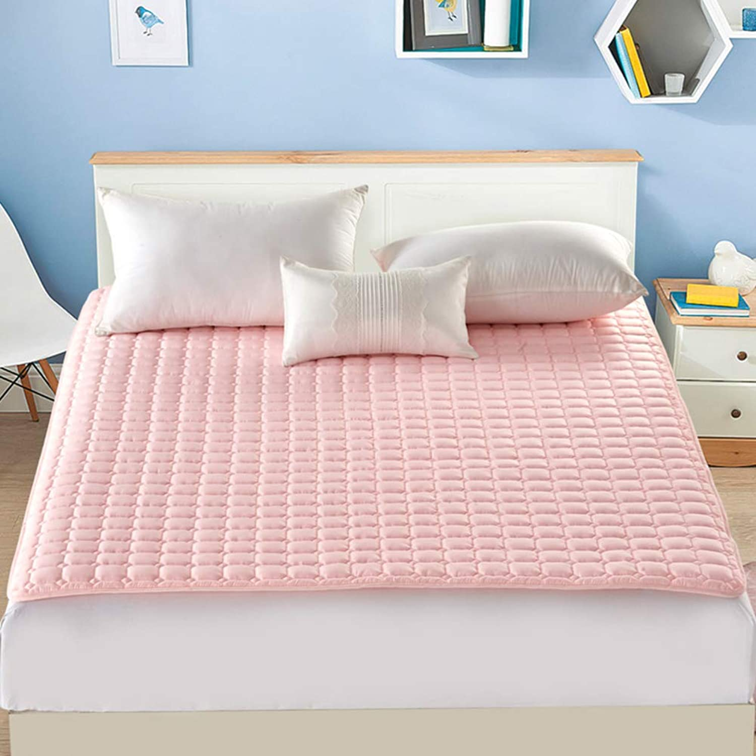 Non-Slip Tatami Mattress,Foldable Mattress Pads,Solid color Hotel Thin Soft Breathable Four Seasons Washable Sleeping pad-Pink 180x200cm(71x79inch)