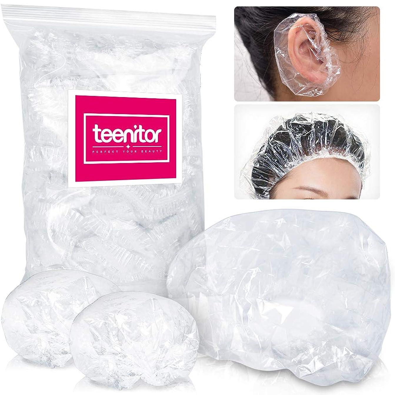 以上カンガルーハイキングに行くTeenitor シャワーキャップ 使い捨て 100枚 使い捨てキャップ ヘアカラー用 耳キャップ100枚 毛染め用 髪染め用 フリーサイズ 男女兼用 使い捨て 衛生的