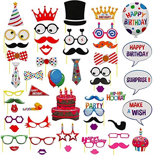 AMAZECO 53Pcs Birthday Photo Booth Props Kit, Photo Booth Props for Wedding Birthday Christmas Holiday Party Decoration