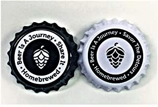 Beer Bottle Caps- Oxygen Absorbing Crown Caps for Homebrew- 200 Total Caps- 100 White- 100 Black ~ Beer Is A Journey