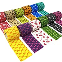 Knine Cohesive Bandages for Dogs 5cm x 4.5m - Pack of 12 Twelve assorted colours and patterns Each knine cohesive bandage is individually wraped Contain latex, Single Use.