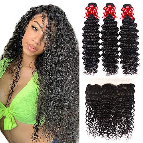 Brazilian Virgin Hair Deep Wave Bundles with Lace Frontal Unprocessed Virgin Human Hair Ear to Ear Lace Frontal with Bundles Curly Frontal with Bundles Human Hair Extensions Natural Color(22 24 26+20)