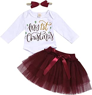 LUCSUN Neugeborenes Baby Mädchen Outfit Sets My First Christmas Day Strampler Bodys Tüll Tutu Rock und Schleife Stirnband