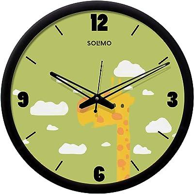 Amazon Brand - Solimo 12-inch Plastic & Glass Wall Clock - Giraffe (Silent Movement, Black Frame)