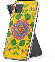 Crystal Clear Phone Cases Floral Rangoli Pattern on Yellow Case Cover Compatible for iPhone (11 Pro Max)