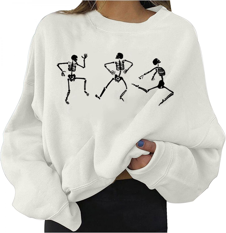 Halloween Women Sweatshirts Cute Pumpkin Ghost Black Cat Bat Print Casual Sweaters Long Sleeve Crewneck Pullover Fall Tops